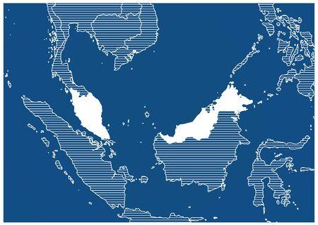 Asia zone Malaysia Blue print map classic