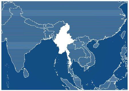 Asia zone Myanmar Blue print map classic