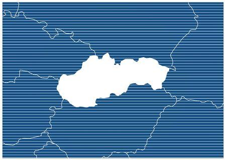 Europe zone Slovakia Blueprint map classic 向量圖像
