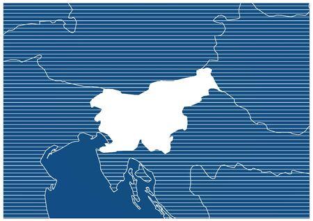 Europe zone Slovenia Blue print map classic