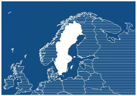 Europe zone Sweden Blueprint map classic 向量圖像