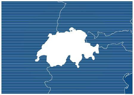Europe zone Switzerland Blueprint map classic 向量圖像