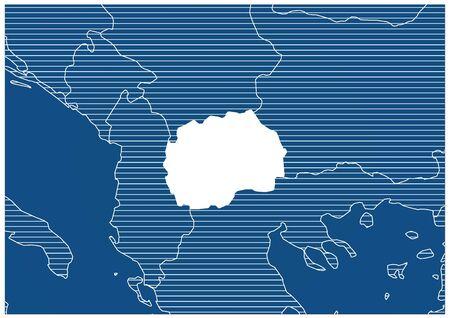 Europe zone The former Yugoslav Republic of Macedonia Blue print map classic 向量圖像