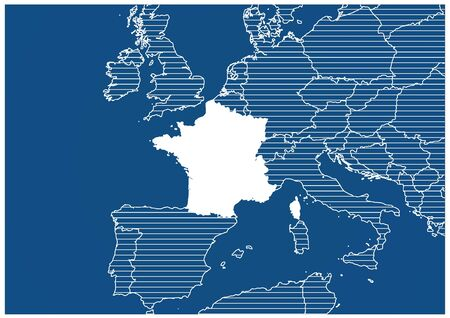 Europe zone France Blue print map classic