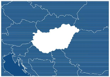 Europe zone Hungary Blue print map classic