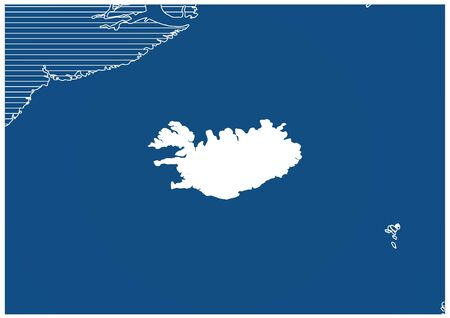 Europe zone Iceland Blue print map classic