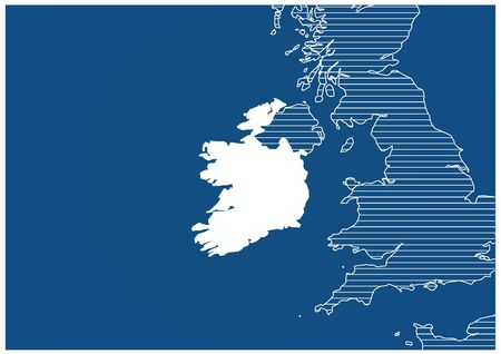Europe zone Ireland Blue print map classic