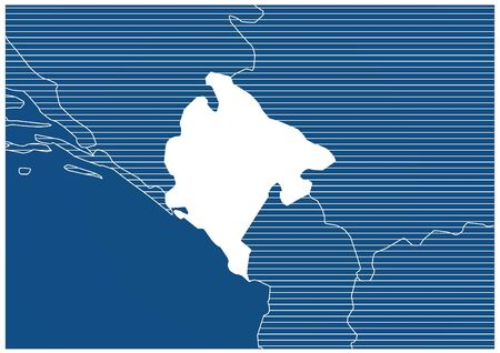 Europe zone Montenegro Blue print map classic