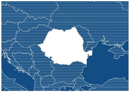 Europe zone Romania Blue print map classic