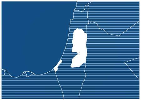 Asia zone Palestine Blue print map classic