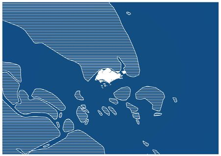 Asia zone Singapore Blue print map classic