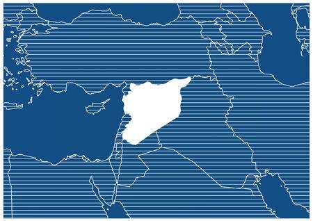 Asia zone Syrian Arab Republic Blue print map classic