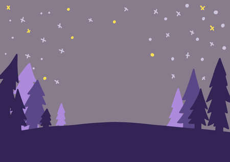 forest landscape at star night time