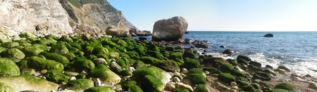 rocky beach landscape with water photo