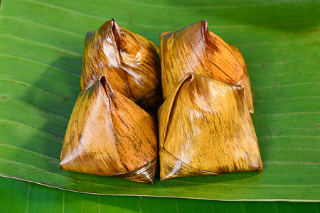 mush: Thai sweets bunch of mush on banana leaf Stock Photo
