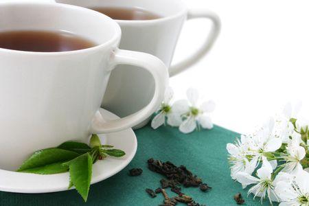 glass tea and dried tea leaves