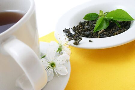 tea cup and dried tea leaves Stock Photo - 393613