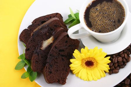 cooky: coffee cup and chocolate cheese cake Stock Photo