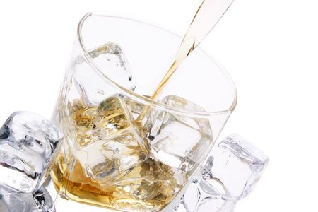 glass of ice and alcohol Stock Photo