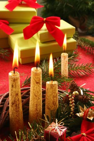 still life with candle and gifts photo