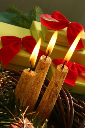 still life with candle and gifts Stock Photo