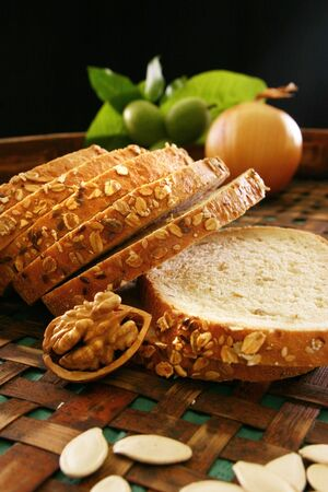 Cut loaf of white bread, Still live Stock Photo