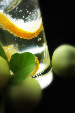 Lemon and Ice Cubes in Soda Water