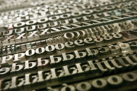 Typography workshop .Old Metallic Letters for Printing photo