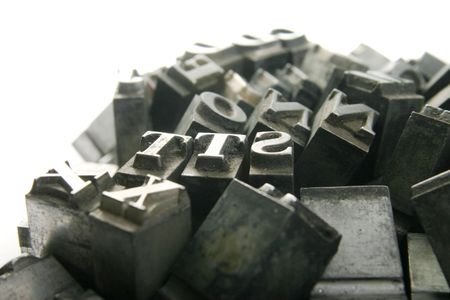 movable: Typography workshop .Old Metallic Letters for Printing