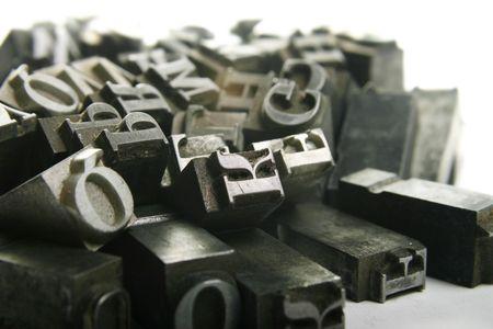 old macro: Taller de tipograf�a. Antiguo metalizado Cartas de Impresi�n