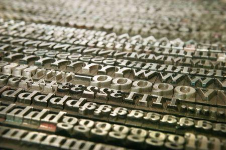 Warsztaty typografii. Starego listów metalowe do druku Zdjęcie Seryjne
