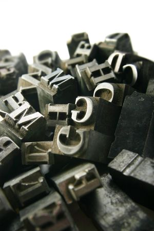 Typography workshop .Old Metallic Letters for Printing