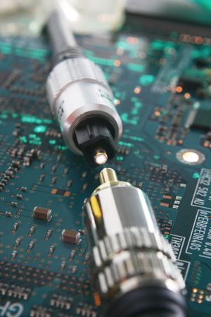 Computer electronics. Fiber optic cable connector in focus Stock Photo