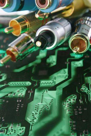 fibre optique: Bunch des fils et des c�bles. Connecteur de c�ble � fibre optique � la une