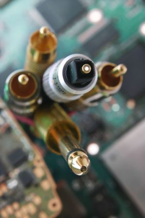 Bunch of wires and cables. Fiber optic cable connector in focus