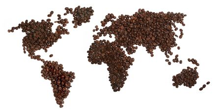 Coffee beans in the shape of World on a white background.