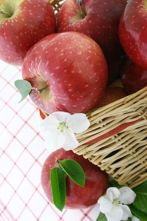 Red apples and white flower in a basket photo