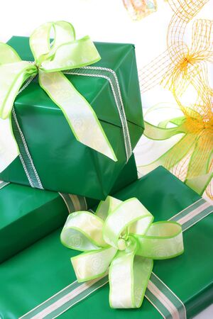 paper gifts boxes with bow, sits ready for any occasion. Stock Photo