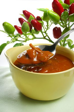 Homemade Vegetable Soup with red and green paprika Stock Photo