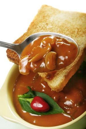 Vegetable Soup with fresh paprika and toast bread Stock Photo