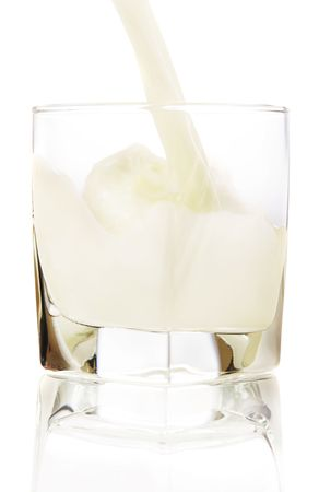 Close up of milk being poured into a glass on white background