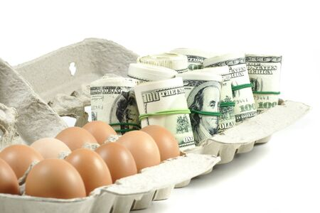 rolls of money with eggs in a grey recycled paper carton photo