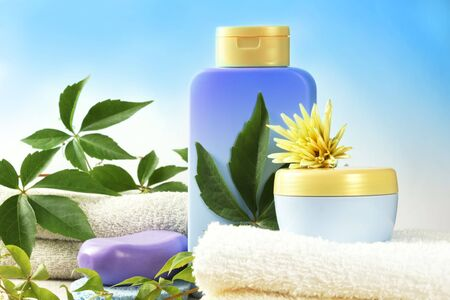 SPA cosmetics, bathroom composition with natural products.