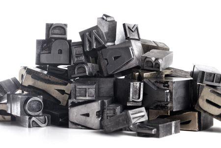 letter blocks for lead typesetting Stock Photo