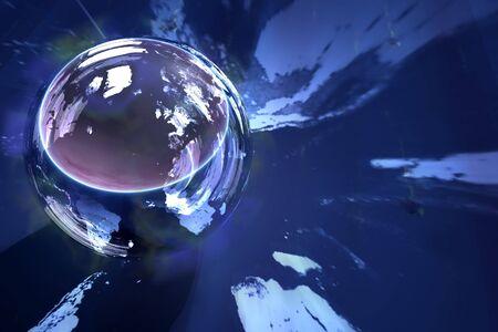 earthlike: mirrored earth-like globe Stock Photo
