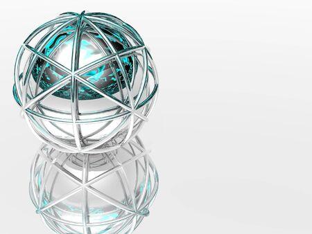 hemisphere: floating hemisphere in silver cage Stock Photo