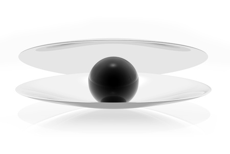 Black pearl on a white background for the cover photo