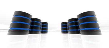 Blue data base Servers on white background photo