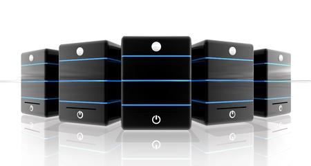 하부 구조: 흰색 배경에 웹 사이트 및 배너 서버