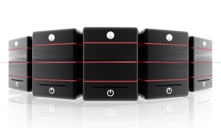 web host: Red Servers for hosting site or header banner Stock Photo
